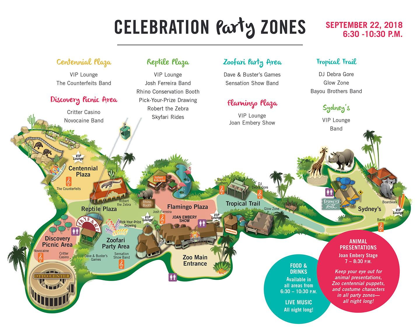 Celebration Party Zones map